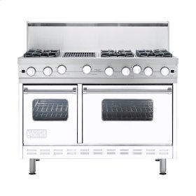 "White 48"" Open Burner Commercial Depth Range - VGRC (48"" wide, six burners 12"" wide char-grill)"