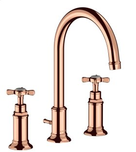 Polished Red Gold 3-hole basin mixer 180 with pop-up waste set