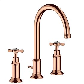 Polished Red Gold 3-hole basin mixer 180 with cross handles and pop-up waste set