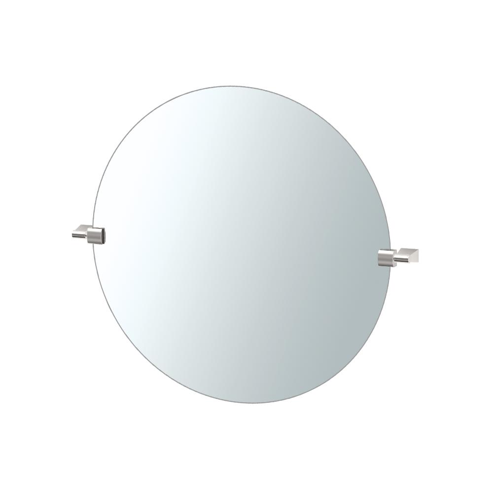 Bleu Round Mirror in Satin Nickel
