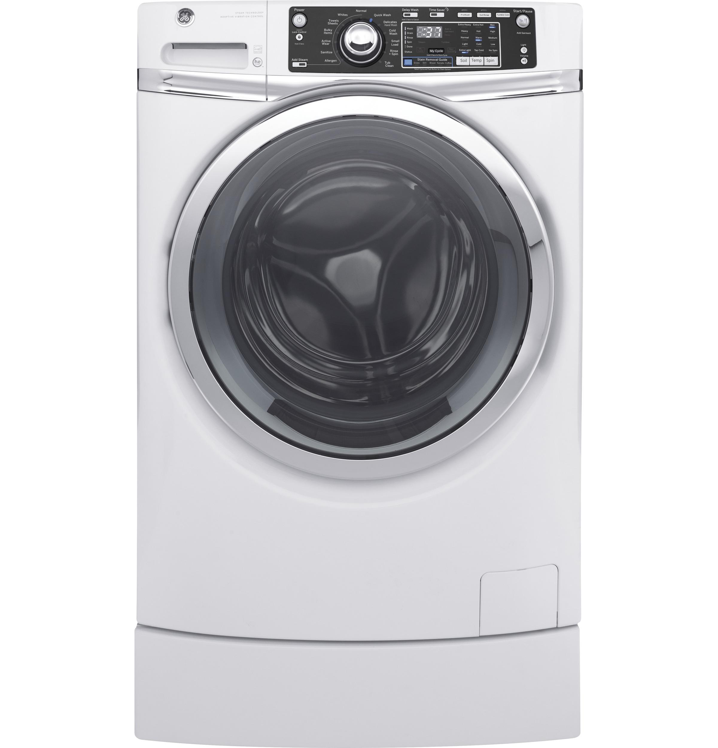 GE(R) 4.9 DOE cu. ft. Capacity RightHeight(TM) Front Load ENERGY STAR(R) Washer with Steam  WHITE