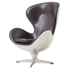 Nero PU Swivel Chair Aluminum Frame, Distressed Java
