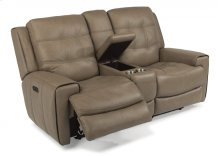 Wicklow Leather Power Reclining Loveseat with Console and Power Headrests