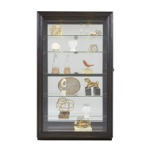 Framed Sliding Door 5 Shelf Curio Cabinet in Dark Brown