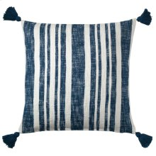 Denim Stripe Pillow, NAVY, 16X26