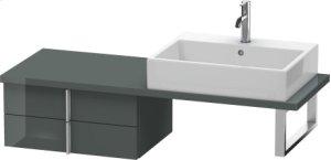 Vero Low Cabinet For Console Compact, Dolomiti Gray High Gloss Lacquer