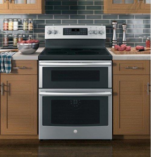 "Floor Model - GE® 30"" Free-Standing Electric Double Oven Convection Range"