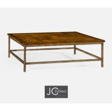 Country Walnut Square Coffee Table with Iron Base