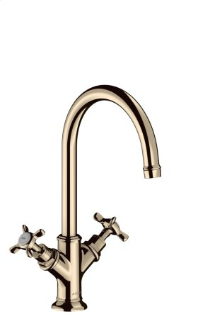 Polished Nickel 2-handle basin mixer 210 with cross handles and waste set