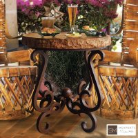 Occasional Side Round Small Table Iron Base Chocolate Finish Copper Natural Hammered Top Product Image