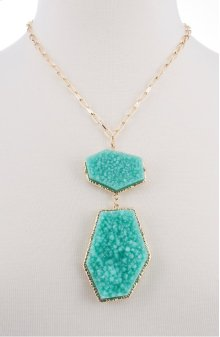 BTQ Teal Stones on Gold Chain Necklace