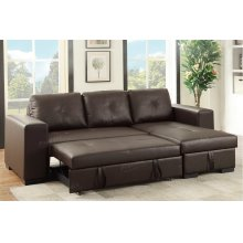Espresso Chaise Sofa with Pull Out Bed