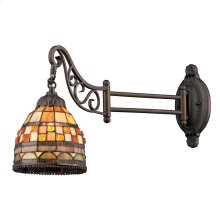 Jewelstone 1-Light Swingarm Wall Lamp in Tiffany Bronze with Tiffany Style Glass