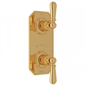"""English Gold Perrin & Rowe Edwardian Trim For 1/2"""" Thermostatic/Diverter Control Rough Valve with Edwardian Metal Lever"""