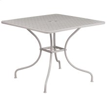 35.5'' Square Light Gray Indoor-Outdoor Steel Patio Table