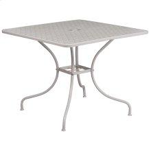 35.5'' Square Light Gray Indoor-Outdoor Steel Patio Table