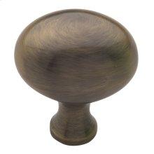 Satin Brass and Black Oval Knob