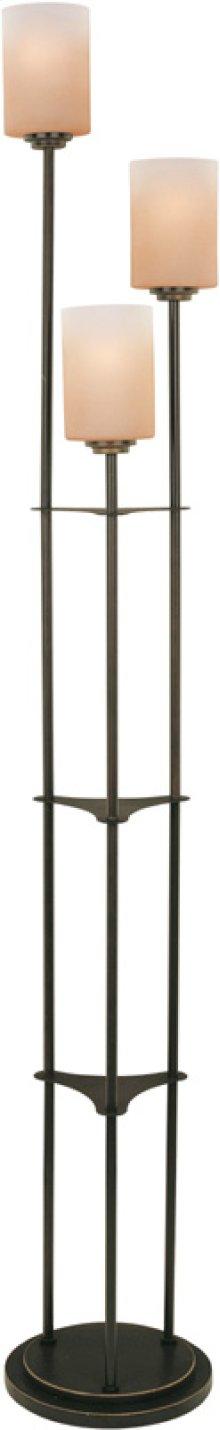 3-lite Floor Lamp, Dark Bronze W/amber Glass, E27 Cfl 13wx3
