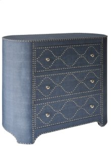 HOT BUY CLEARANCE!!! Three Drawer Oval-Shaped Cabinet In Wedgewood Blue Linen Fabric with Chrome Nail Trim