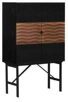 Swell bar cabinet  black / walnut / metal base