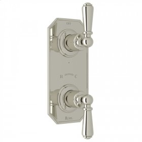 """Polished Nickel Perrin & Rowe Edwardian Trim For 1/2"""" Thermostatic/Diverter Control Rough Valve with Edwardian Metal Lever"""