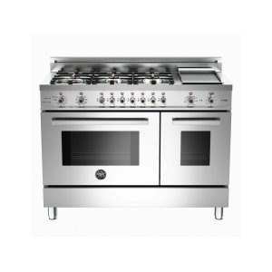 48 6-Burner + Griddle, Electric Self-Clean Double Oven Stainless - Stainless