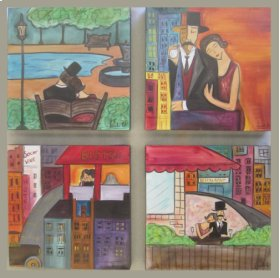 Oil Painting: Valentines (set of 4)