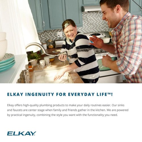"Elkay Lustertone Classic Stainless Steel 14-1/2"" x 14-1/2"" x 7"", Single Bowl Undermount Sink"