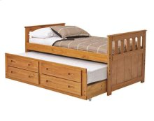 Heartland Mission Captain's Bed with Trundle and Storage with options: Honey Pine, Twin