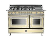 48 6-Burner + Griddle, Gas Double Oven Matt Cream