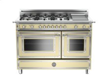 48 6-Burner + Griddle, Gas Double Oven Matt Cream