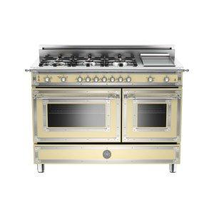 Bertazzoni48 inch 6-Burner + Griddle, Gas Double Oven Matt Cream