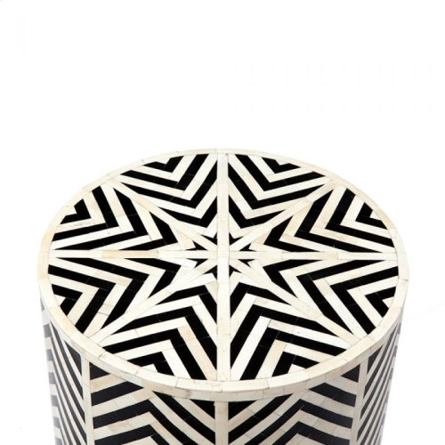 Kiara Side Table - Cream/ Black Horn