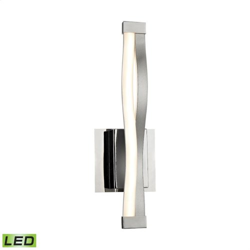 Twist 1-Light Wall Lamp in Aluminum and Chrome with Opal Glass Diffuser - Integrated LED