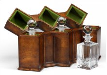 Triple Glass Decanters Set in Conjoined Square Cases