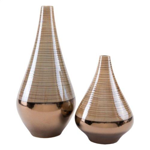 Dual Tall Vase Brown & Pearl