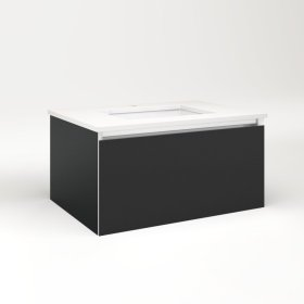 """Cartesian 30-1/8"""" X 15"""" X 21-3/4"""" Single Drawer Vanity In Matte Black With Slow-close Plumbing Drawer and Night Light In 5000k Temperature (cool Light)"""
