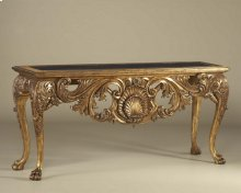 Carved Light Tone Finished Console Table, Golden Galaxy Stone Top