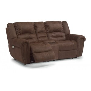 FLEXSTEELNew Town Fabric Power Reclining Loveseat with Console and Power Headrests