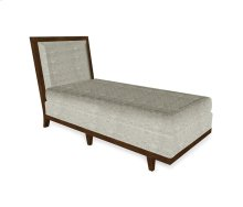 "30"" Walnut & Tan Rattan Chaise Lounge Sectional, Upholstered in Standard Outdoor Fabric"