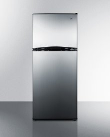 """24"""" Wide 9.9 CU.FT. Frost-free Refrigerator-freezer With an Icemaker, Black Cabinet, and Reversible Stainless Steel Doors"""