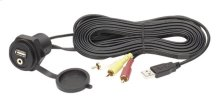 FLUSH MOUNT FEMALE 3.5MM TO MALE RCA AUDIO/VIDEO AND USB EXTENSION CABLE