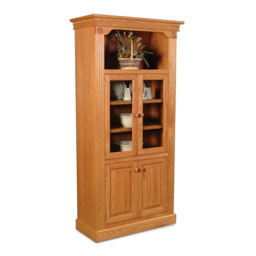 Imperial Bookcase, Glass Doors on Top and Wood Doors on Bottom