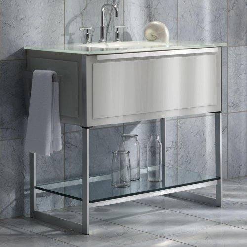 "Adorn 36-1/4"" X 34-3/4"" X 21"" Vanity In Satin White With Slow-close Plumbing Drawer, Towel Bar On Left and Right Side, Legs In Brushed Aluminum and 37"" Stone Vanity Top In Quartz White With Integrated Center Mount Sink and 8"" Widespread Faucet Holes"