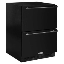 "24"" Refrigerated Drawers - Marvel Refrigeration - Solid Black Drawer Front, Black Handles"