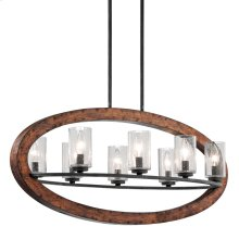 Grand Bank Collection Grand Bank 8 Light Linear Chandelier-Auburn Stain