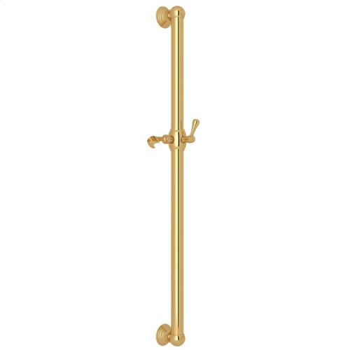 "Italian Brass 36"" Decorative Grab Bar With Lever Handle Slider"