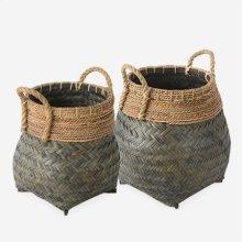 Nile Woven Baskets - Set of 2 - Black