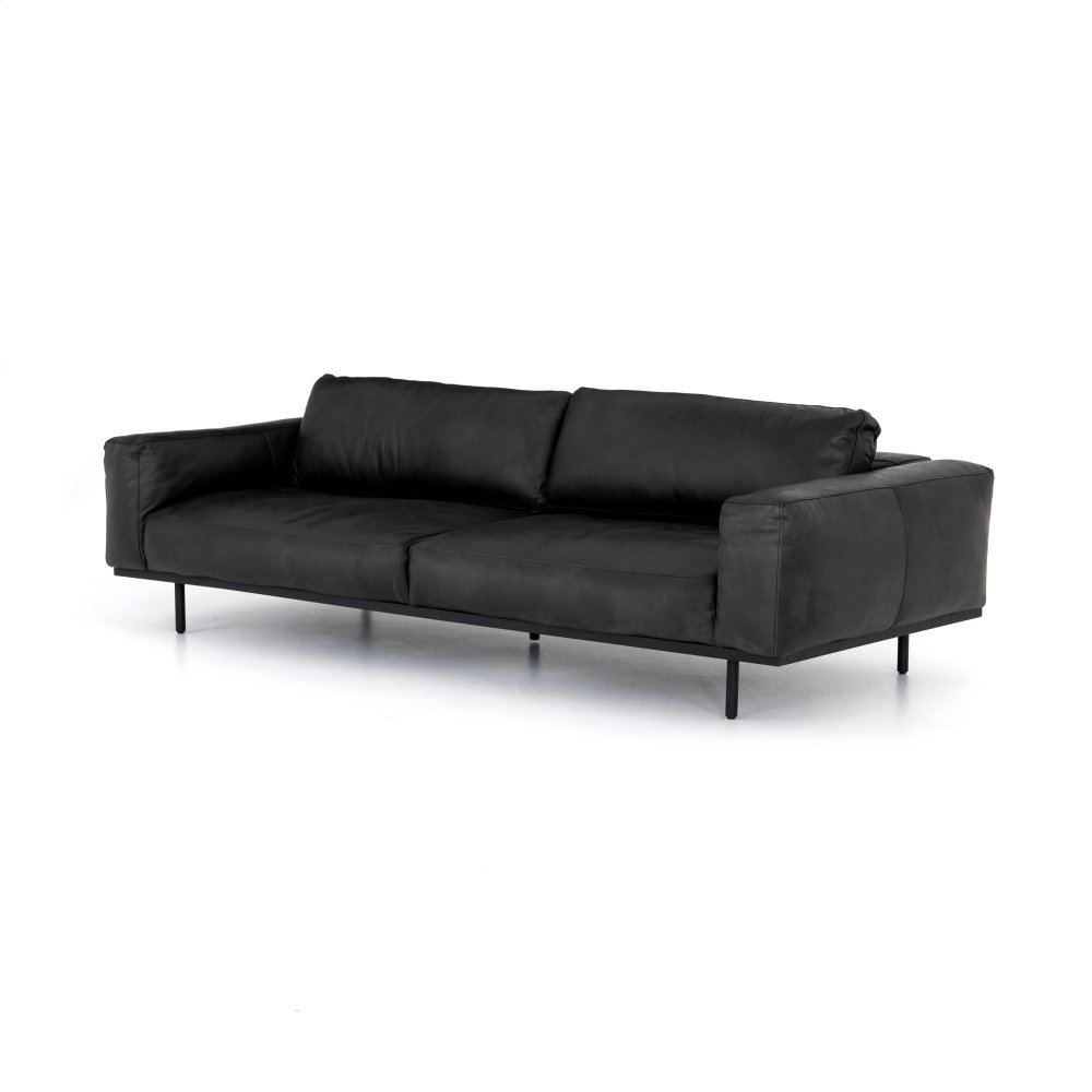 Washed Ebony Cover Landy Leather Sofa-97""