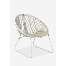 (LS) St. John outdoor round chair - white/taupe..(28x28.75x30.25)..